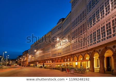 La Coruna facades sunset near Port in Galicia Spain Stock photo © lunamarina
