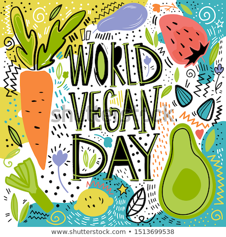 World Vegan Day hand drawn pattern card background Stock photo © cienpies