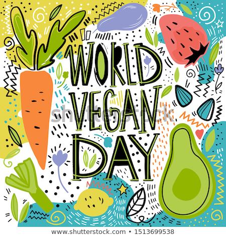 world vegan day hand drawn pattern card background stock photo © cienpies