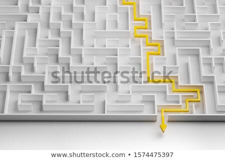 Witte doolhof Blauw puzzel Stockfoto © AndreyPopov