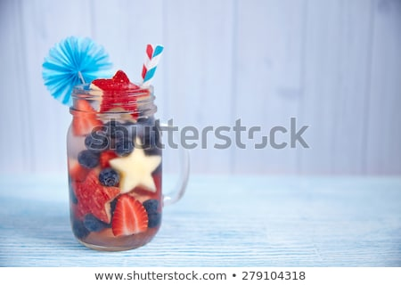 drink in mason jar at american independence day Stock photo © dolgachov