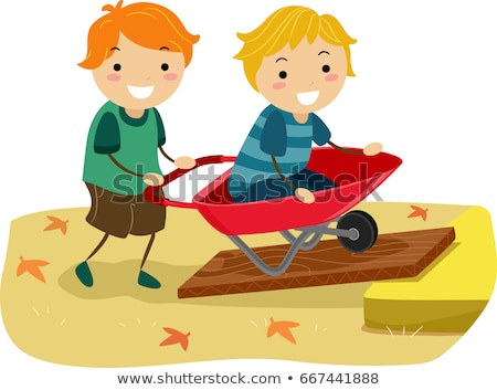 Stickman Kids Inclined Plane Wheel Barrow Boys Illustration Stock photo © lenm