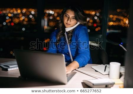 genç · kadın · çalışma · geç · gece · dizüstü · bilgisayar · dizüstü · bilgisayar - stok fotoğraf © lightpoet