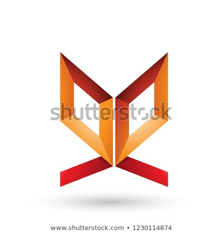 Orange and Red Double Sided Butterfly Like Letter E Vector Illus Stock photo © cidepix