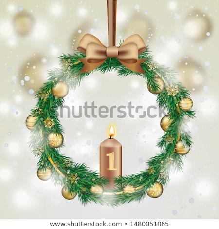 Alegre Navidad nevadas advenimiento corona dorado Foto stock © limbi007