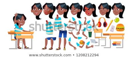 Menina avatar conjunto criança vetor escola secundária Foto stock © pikepicture