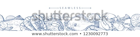 Octopus seafood vector monochrome illustration Stock photo © robuart