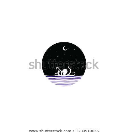 midnight scene giant octopus sign symbol Stock photo © vector1st