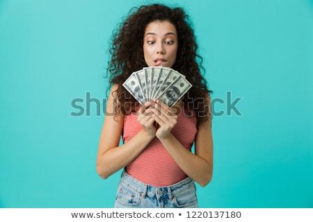 Kép szerencsés nő 20-as évek visel alkalmi ruha Stock fotó © deandrobot