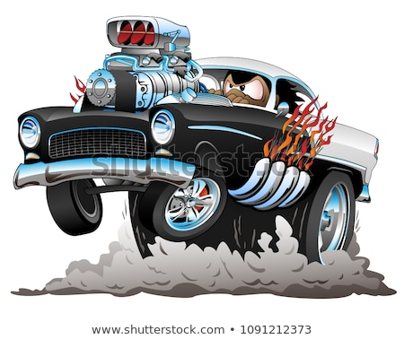 Foto stock: Classic Hot Rod Muscle Car Flames Big Engine Cartoon Vector Illustration
