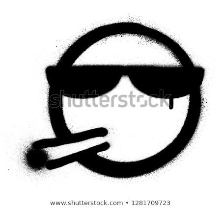 Graffiti roken icon sigaret zonnebril zwarte Stockfoto © Melvin07