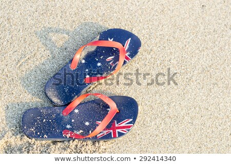オーストラリア人 · フラグ · ビーチ · 印刷 · 波 - ストックフォト © lovleah