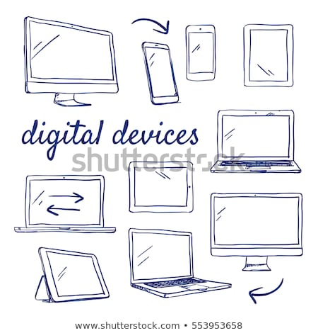 communication and gadgets hand drawn outline doodle icon set stock photo © rastudio
