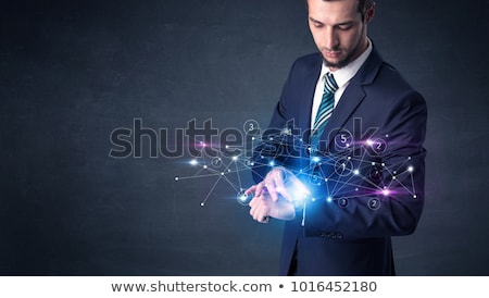 Smartwatch with networking concept. Stock photo © ra2studio