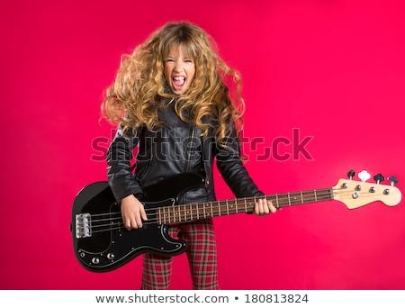 Szőke nő hosszú hajú lány basszus gitáros gitár Stock fotó © Giulio_Fornasar