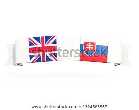 Banner zwei Platz Fahnen Vereinigtes Königreich Slowakei Stock foto © MikhailMishchenko