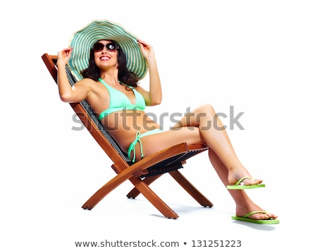 beautiful sunbathe girl isolated on white background Stock photo © smeagorl