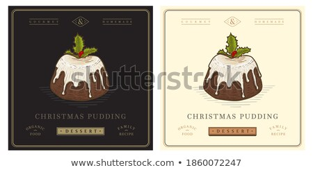слива пудинг иллюстрация омела белая пластина Рождества Сток-фото © lenm