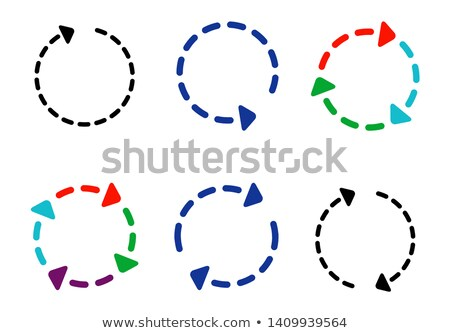 Spinning, rotating arrows in dashed circle. Loop, reset arrows. Vector illustration isolated on whit Stock photo © kyryloff