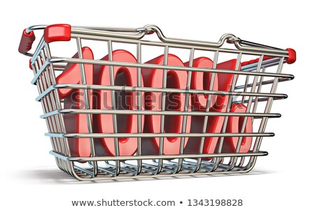 steel shopping basket 100 percent sign 3d stock photo © djmilic