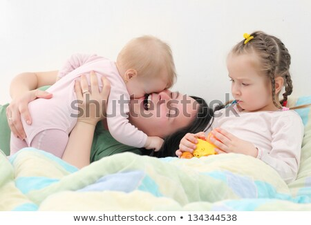 Happy jewish woman with a newborn baby mother with children flat Stock photo © NikoDzhi