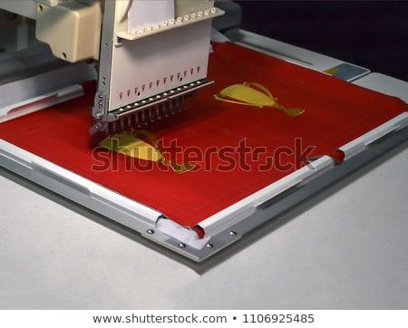 Profi varrógép közelkép modern textilipar munka Stock fotó © cookelma