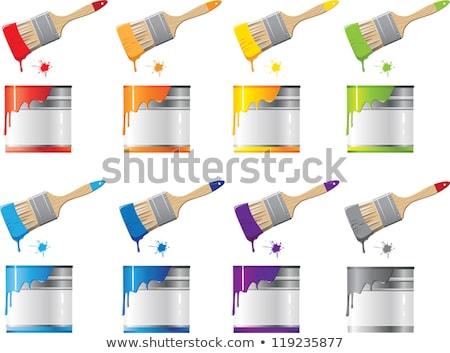 vector set of paint bucket and paint brush Stock photo © olllikeballoon