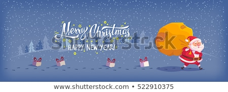 Merry Christmas Warm Wishes Card, Santa and Gifts Stock photo © robuart