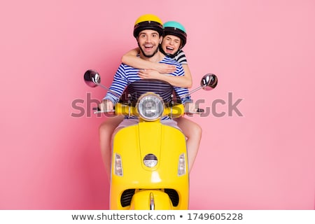 Portret blijde paardrijden motor samen Stockfoto © deandrobot