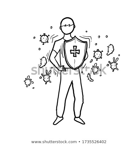 Foto stock: Immunology, Immune System Protection Cartoon Vector Drawing