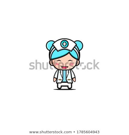 Młoda kobieta medycznych lekarza maskotka cartoon młodych kobieta Zdjęcia stock © Krisdog