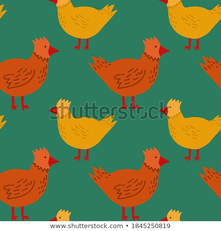 Happy Yellow Chick Cartoon Character With A Red Daisy Flower Stock photo © hittoon