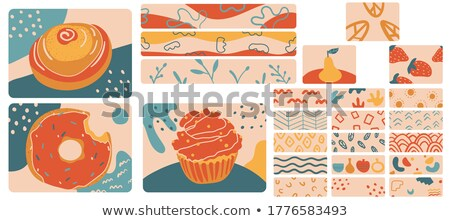 vector set of cupcakes with strawberry flowers and abstract ornaments stock photo © natalia_1947
