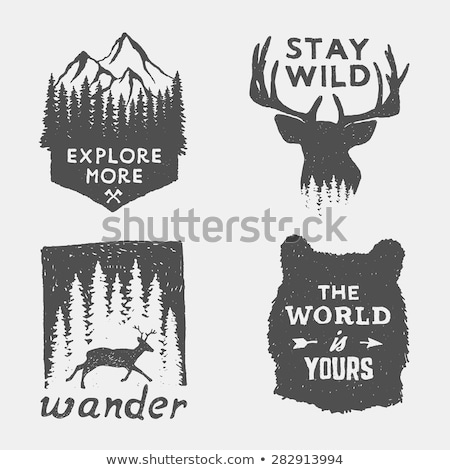 Wild animals silhouettes with lettering quots vector illustration Stock photo © marish