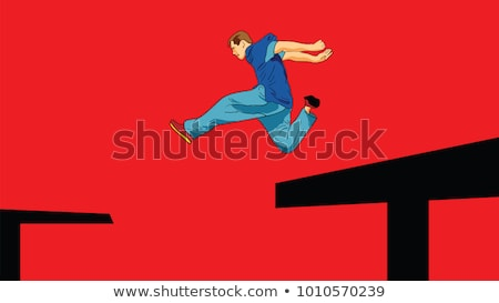 Man Running by Roof, Parkour Extreme Sport Vector Stock photo © robuart