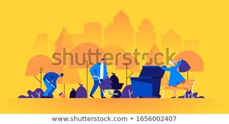 Vrijwilliger vuilnis schone omhoog straat vector Stockfoto © robuart