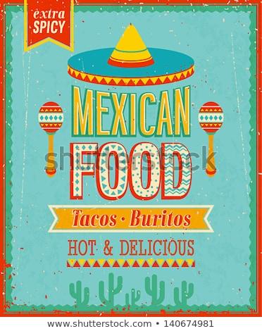 Meksika · tacos · ikon · örnek · iştah · açıcı · karikatür - stok fotoğraf © netkov1