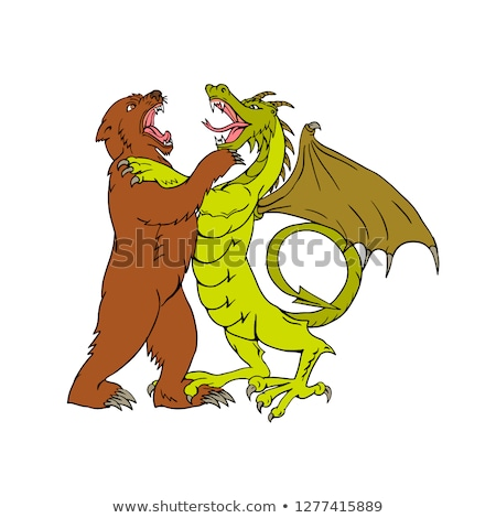 Chinese Dragon Fighting Grizzly Bear Drawing Color Stock photo © patrimonio