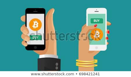Kéz fizet bitcoin digitális valuta nő Stock fotó © ra2studio