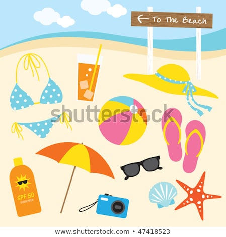 drinks, hat, camera and sunglasses on beach sand Stock photo © dolgachov