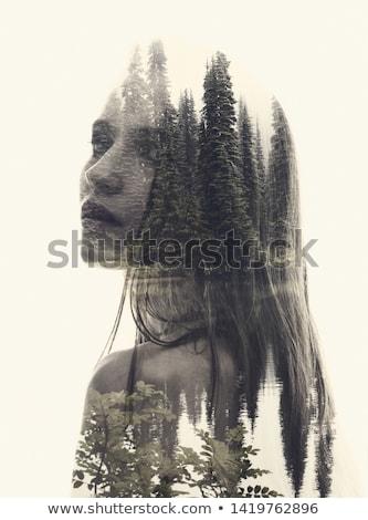 Doble exposición mujer perfil agua belleza Foto stock © dolgachov