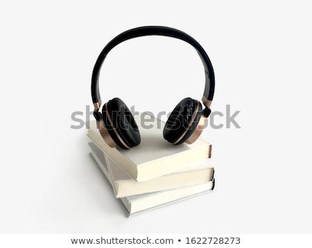 Audio livre noir casque livres table en bois Photo stock © neirfy
