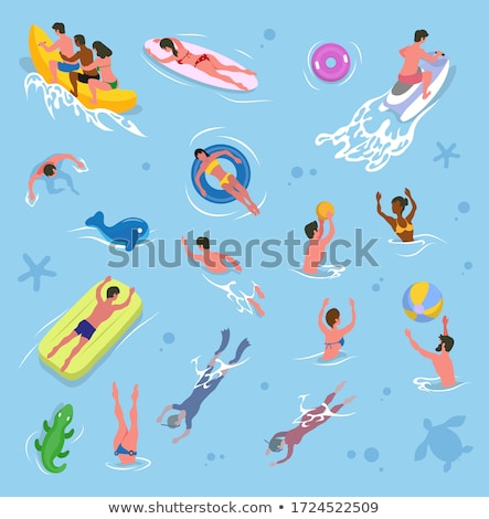 friends playing volleyball in pool summer vector stock photo © robuart