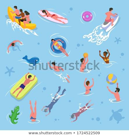 Amigos jugando voleibol piscina verano vector Foto stock © robuart