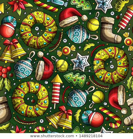Foto stock: Cartoon Cute Hand Drawn Xmass Seamless Pattern