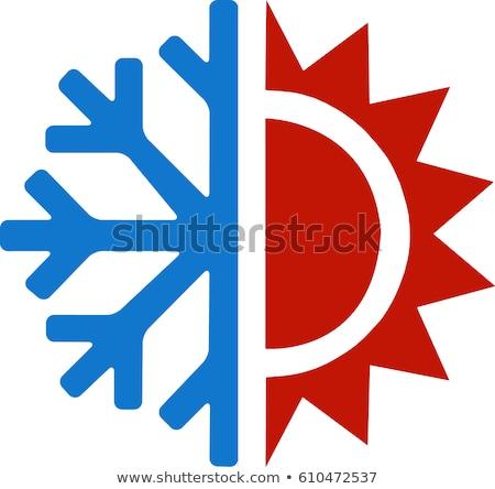 Gebouw sneeuwvlok koeling uitrusting vector icon Stockfoto © pikepicture