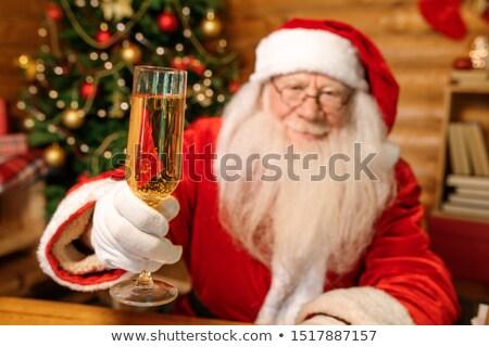 Mutlu noel baba flüt şampanya kamera Stok fotoğraf © pressmaster