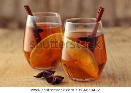 Cam taze elma elma şarabı baharatlar içmek Stok fotoğraf © StephanieFrey