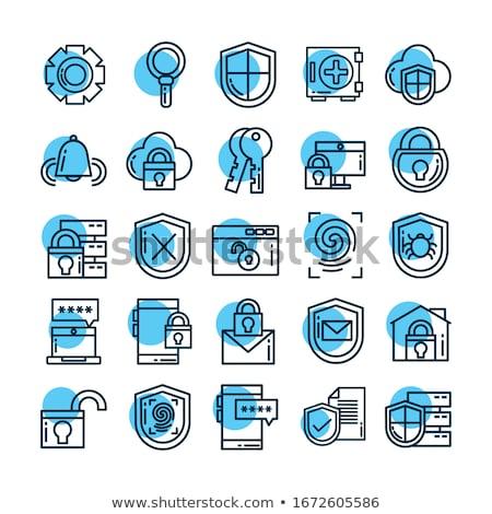 Data protection - line design style icons set Stock photo © Decorwithme