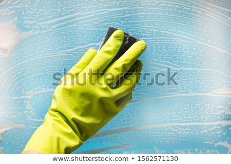человек очистки мыло стекла губки Сток-фото © AndreyPopov